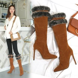 b06ea656f0a New autumn and winter thickening warm woolen suede frosted sleeve ultra-high  heel (8CM above) fashionable sexy boots for women.T923