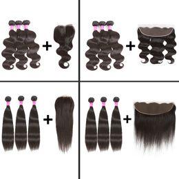 Wholesale 4x4 Lace Frontal - Brazilian Virgin Hair Body Wave Straight Human Hair Weave Bundles with 4X4 Lace Closure and 13x4 Lace Frontal Weaves Closure with bunde deal