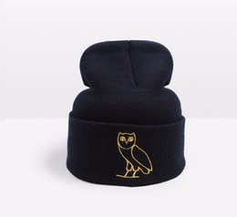 Wholesale Hip Hop Winter Caps - Fashion Designer Drake Ovoxo Winter Warmer Hat Skullies Slouchy Beanies Unisex Knitted Hat Mens And Womens Skull Hip Hop Cap Hair Bonnets