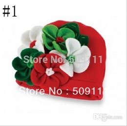 Beanie das meninas vermelhas on-line-Atacado-bebê de algodão Beanie meninas chapéu gorros infantis Gorro infantil de Natal Red caps 10pcs H280