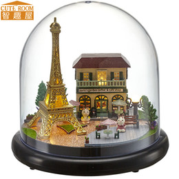 Wholesale Miniature House Lights - Wholesale-Assemble DIY Doll House Toy Wooden Miniatura Doll Houses Miniature Dollhouse toys With Furniture LED Lights Birthday Gift B018