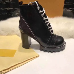 Wholesale rough leather shoes - Woman's Leather shoes Lace up Ribbon belt buckle ankle boots factory direct female rough heel round head autumn winter Martin BootsSIZE34-42