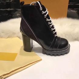 Zapatos de mujer de cuero con cordones Cinturón con hebilla Cinturón botines directos de fábrica mujer tacón aproximado cabeza redonda otoño invierno Martin BootsSIZE34-42 desde fabricantes