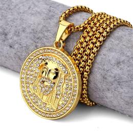 Wholesale Jesus Christ Necklace - 2018 New Golden Round Jesus Head Pendant Necklace Iced Out Medallion Style Christ Head Charm Pendants Rhinestone Hip Hop Jewelry