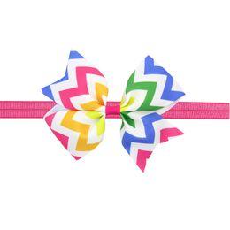 Wholesale Rainbow Flower Bow - 10pcs hair bows Hair Bands Flower Headband Rainbow waves Ribbon Bow For Newborn Kids Top Knot dot Hair Accessories HC026