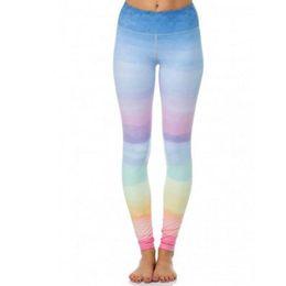 Wholesale colorful high waist pants - CALOFE Colorful Pattern Sport Leggings Tights Printed Yoga Pants Running Fitness Gym Sportwear High Elastic Waist Push Up