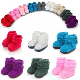 Wholesale Hand Knitting Socks - New Winter Baby Socks Warm And Comfortable Baby Toddler Shoes Hand-Knit Wool Wholesale Baby First Walkers Shoes Free Shipping D350S