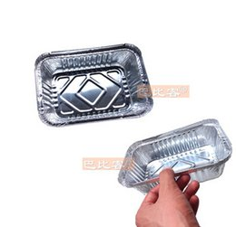 All'ingrosso-Bianco scatola di cartone monouso scatola di pranzo scatola di imballaggio pranzo stanniol foglio di alluminio ciotola 700 ml con coperchio 10pcs / un lotto BBK001 da