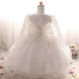 2019 grandes vestidos de noiva estilo princesa Fantasia Vestido De Inverno Para A Menina Manga Longa Vestidos de Batismo Branco 1 Ano de Menina vestido de Aniversário Do bebê Da Criança Rendas Vestido de Batismo