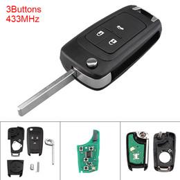 Control remoto de corsa online-434MHz 3 botones Llavero sin cortar Flip Keychain remoto con chip ID46 para Astra J / Corsa E / Insignia / ZafiraC KEY_115