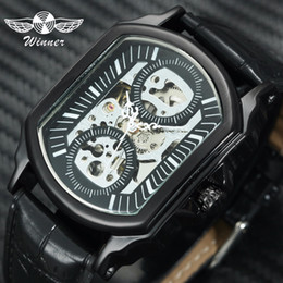 часы tonneau Скидка WINNER Fashion Casual Auto Mechanical Watch Men Leather Strap Tonneau Skeleton Dial Sports Mens Watches Top  Clock