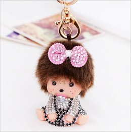 Wholesale Amethyst Cars - wholesale butterfly monchichi Keychains women birthday gift keychain lovely doll pendant key ring gift for girl cute bag car keyring