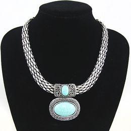 Wholesale Wholesale Large Stones Jewelry - whole saleRetro Large Blue stone Pendant Necklace Vintage Necklaces for Women Statement Bohemian Necklace Jewelry Women nkej89