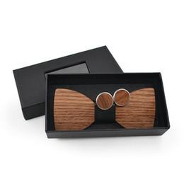 Pajarita de rayas online-2018 hombres de la manera del banquete de boda de madera pajarita corbata corbata conjunto novio de madera floral a cuadros escocesa del lunar pajarita gemelos