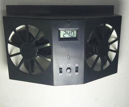 вентилятор радиатора 12v Скидка Without Battery Black Window Auto Ventilator Cooler Vent Rubber Car Ventilation Fan 12V solar Sun Power Air Radiator