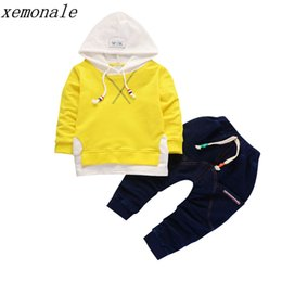 Wholesale Formal Hoodie - 2018 Autumn Children Girls Clothing Set Baby Leisure Letter Cotton Hoodies Long Sleeve T Shirts Pants 2Pcs Costume Kids Clothes