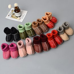Wholesale fur boots newborn - Genuine Leather Baby Socks First Walkers Infants newborn soft bottom Shoes High-top Toddler boots 6 colors C3850