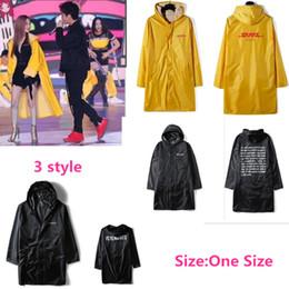 Wholesale Fashion Raincoats - 2018 Newest TOP hip hop kanye west fashion Vetements windbreaker waterproof raincoat jacket Vetements DHL Print Yellow Raincoat Jacket