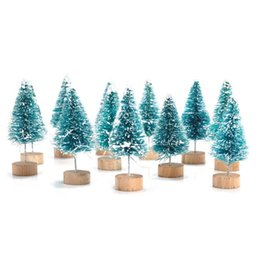 Wholesale House Figurines - 12x Mini Sisal Bottle Brush CHRISTMAS TREES Santa Snow Frost Village House