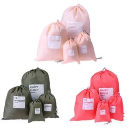 Wholesale Nylon Fabric Roll - 4pcs set Nylon Drawstring Storage Bag Multi-functional Travel Makeup Bag Outdoor Camping Travel Kit Organizer