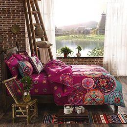 Wholesale Geometric Pillow Covers - National Style Recto Prune Reversible Duvet Cover with Pillow Sham Boho Mandala Bedding Set
