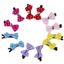 Wholesale Pet Hair Clips - China bows Suppliers 10pcs lot DIY Bows Cat pins Lovely Pet Hair Clips Dog Hair Accessories Grooming Pet Products