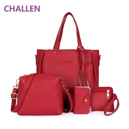 Wholesale tassel handles - famous brand women tassel bag top-handle bags fashion lady messenger handbag set PU Leather composite bag bolsa femina 4pcs set