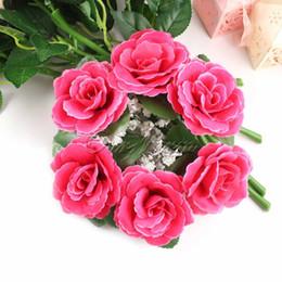 centri d'anello Sconti All'ingrosso-Grande floreale Anelli di candela centrotavola di nozze Rose di seta Fiori Unity Candle Party Home Vase Decoration