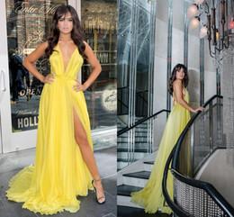 e0fce9d54297 ... profondo con scollo a V lunghi abiti da sera coscia alta spacco abiti  da sera semplici abiti celebrità elegante spettacolo sconti vestito da sera  giallo ...