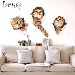 2020 arte de la pared pegatinas gatos Icosy Imanes de Nevera 3 UNIDS 3D Gatos Diseño Calcomanía Arte Pegatinas de Pared Habitación Magnética Decoración Del Hogar Decoración de La Pared Etiqueta Engomada Del Refrigerador arte de la pared pegatinas gatos baratos