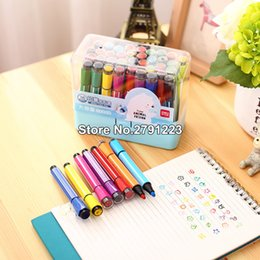 Wholesale stamps albums - 12 18 24 36 a set colors Watercolor pen with stamp Set for Photo album decoration Stationery Markers Highlighter Free shipping