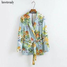 Wholesale Plant S Light - X118 women autumn fashion light blue color plant floral print casual blazer tops ladies elegant fresh outwear blazers coat