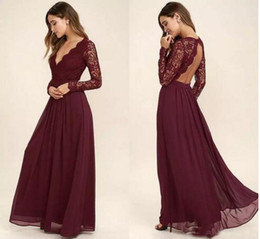 Wholesale Juniors Chiffon Dresses Pink - 2018 Lace Burgundy Bridesmaid Dresses Chiffon Skirt Illusion Bodice Long Sleeves A-Line Junior Bridesmaid Dresses Cheap BA6895