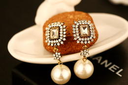 big drop pearl earrings Promo Codes - 2017 earrings for women gold long dangle earrings vintage fashion big pearl jewelry earings retro temperament drop earrings channel brand
