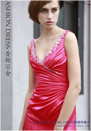 Wholesale Vestidos Formales - free shipping 2018 new fashion vestidos red long satin robe de soiree v-neck crystal formales sexy party Graduation Dresses