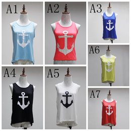 Wholesale Bow Back Tops - Navy Style Sexy Vest with Back bow Tie Ship Anchor New Female printed vest Tank Tops FFA007
