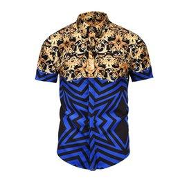 2018 marca nueva camisa de los hombres de lujo de los hombres camisas de vestir de moda casual de manga corta camisa corta de algodón diseñador 3D desde fabricantes