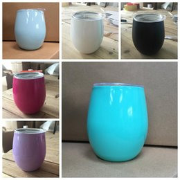 Wholesale wholesale classic - 8oz Egg Mug Stemless Wine Glass Double Wall Stainless Steel Vacuum Insulated Mug with Lid LJJO5292