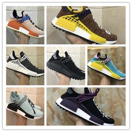 """Wholesale Family Specials - Pharrell """"Friends and Family"""" NMD HUMAN RACE,Hu nmds Williams Runner Shoes Being Special Burgundy Maroon Yellow Black Red Green With Box 36-"""
