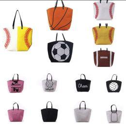 faire du vin blanc Promotion 18 styles de toile sac de baseball fourre-tout sacs de sport sac de softball de mode football football basket-ball toile de coton sac de rangement à domicile 10pcs