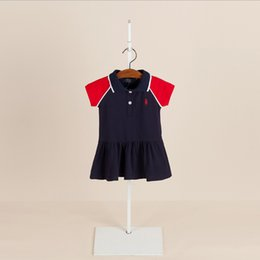 Wholesale Girls Knit Dresses Wholesale - 2 color 2018 European and American summer NEW arrival Girls Kids Pure cotton knitted tennis skirt kids girl Turn-down Collar dress