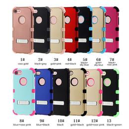 Capa de telefone 3in1 on-line-Alta Qualidade Dupla Camada de Armadura Fosco Fosco 3in1 Shockproof Kickstand Phone Case Para iphone x 8 plus 7 6 s 6 plus samsung s8 mais s8 s9 s8 nota
