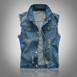 2019 chaleco asiático hombres Nueva primavera otoño 2018 Vintage Classic Design Casual Denim Vest Men Blue 3 Colors Plus Asian size M-4XL 5XL 6XL rebajas chaleco asiático hombres