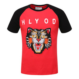 Wholesale Leopard Print T Shirt Men - G Hot Selling 2018 New Same Style Men and Women'S Casual Pullover Short-sleeved T-shirt , Letters,Tiger head Embroidery Printing Short-slee