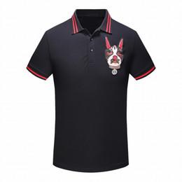 hund shirt frau Rabatt 2018 sommer neue designer luxus kleidung männer stoff polo stickerei boston hund t-shirt drehen-down casual frauen t-shirt t-shirt