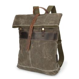 Bolsas de lona enceradas on-line-Cera de óleo da lona bolsa de lona dos homens bolsa de ombro retro batik mochila de viagem à prova d 'água homens