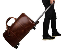 Maleta de cuero genuino online-21 pulgadas de cuero genuino equipaje bolsa de viaje duffle bag Rolling maleta llevar bolso de noche de fin de semana bolsa de lona