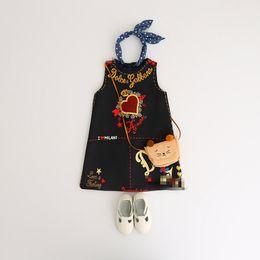 2019 niños americanos estilo de vestir Ropa de los niños Vestido de las muchachas del bebé El más nuevo estilo europeo y americano otoño invierno Sundress carta corazón impreso para niños niñas trajes niños americanos estilo de vestir baratos