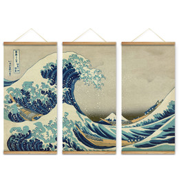 great art pictures Promo Codes - 3Pcs Japan Style The great wave off Kanagawa Decoration Wall Art Pictures Hanging Canvas Wooden Scroll Paintings For Living Room