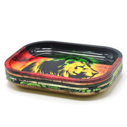 Wholesale Tin Cases Wholesale - DHL Metal Fruit Tray Tray Tin Plate Case Mini Metal Machine Tobacco Rolling Tray Handroller Smoking Storage Case 5Colors 18*14cm HH7-384
